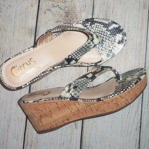 Circus Sam Edelman Snake Print Wedge Sandals 8M